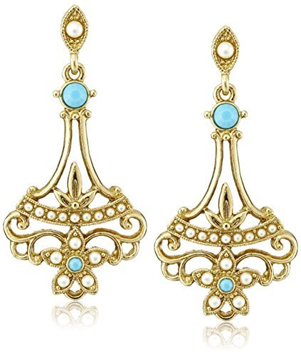 Downton Abbey Boxed Gold-Tone Simulated Pearl and Imitation Turquoise Drop Earrings by Downton Abbey