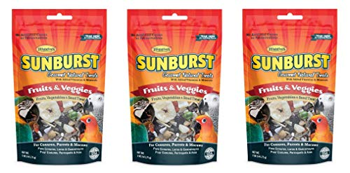 Higgins 3 Pack of Sunburst Gourmet Natural Bird Treats, 5 Ounces Each, Fruits and Veggies Flavor, for Conures Parrots and ()