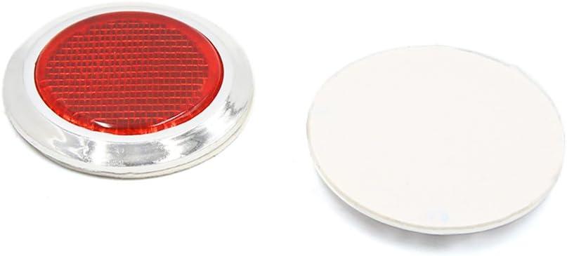 Red Silver Tone Oval Car Reflective Sticker Decor Self Adhesive Reflector 4 Pcs