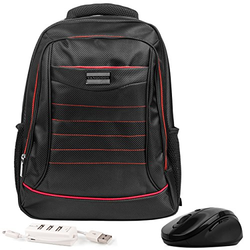 - VanGoddy Bravo Red Trim Laptop Backpack w/Mouse and USB HUB for Acer Aspire/One CloudBook/Predator Series 13