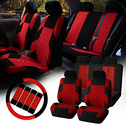 FH-FB071115 Complete Set Travel Master Seat Covers Airbag Ready & Rear Split, Red / Black- Fit Most Car, Truck, Suv, or Van