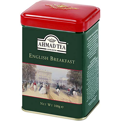 Ahmad Tea Caddy Gift Tin, English Scene, English Breakfast, 100 Gram - Loose Tea Caddy