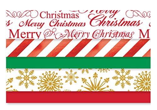 Printed Christmas Tissue Paper - 102 Sheet Pack with Foil Metallic Accents
