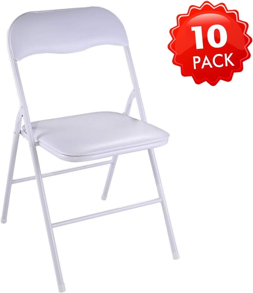 JAXSUNNY White Plastic Folding Chair for Wedding Commercial Events Stackable Folding Chairs with Padded Cushion Seat 10 Pack ,18.8 x 17.3 x 30 inches