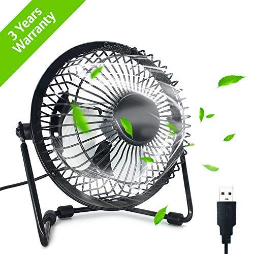 Ezlife Mini Ventilateur USB 4 Pouces Mini Ventilateur Portable 360° Rotatif Ventilateur de Table Silencieux Compatible avec Notebook, Ordinateur, PC Desk pour la Maison, Bureau, Camping - Noir