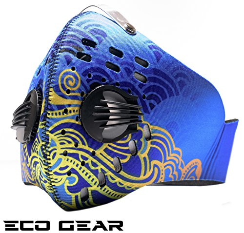 ECO-GEAR Anti Pollution Face Mask with Military Grade Protection | Anti Smoke, Exhaust Gas, Dust, Pollen Allergens | Hiking, Running, Walking, Cycling, Ski and Other Outdoor Activities (Blue Fire)