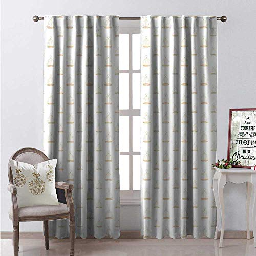 - Hengshu Birdcage Thermal Insulating Blackout Curtain Retro Revival Themed Empty Birdcages Pattern Oval Ornaments Illustration Blackout Draperies for Bedroom W108 x L108 Beige and White