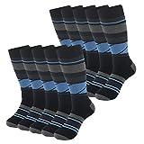 SUTTOS Mens 10 Pairs Deodorizing Breatheable Cool Thick Mid Calf Blue Black Argyle Lattice Design Crew Boot Socks