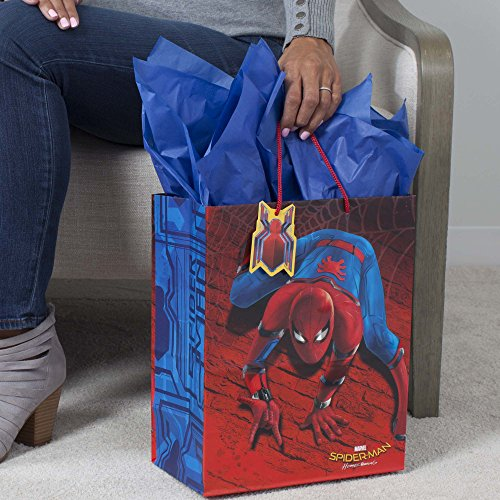 35461133cebe Hallmark Large Gift Bag with Tissue Paper for Birthdays, Kids Parties or  Any Occasion (Spiderman)
