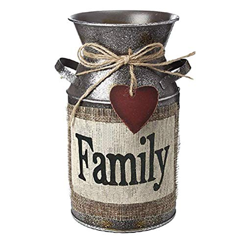 (Vosarea Rustic Decorative Vase with Greetings and Rope Design Metal Milk Can Country Jug for Living Room, Bedroom, Kitchen (Family))