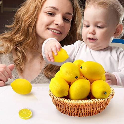 BigOtters 25PCS Artificial Lemons, 2 x 3 inches Vivid Faux Lemon Fake Yellow Lemon for Fake Fruit Bowl, Home Kitchen Table Cabinet Party Decor Photography Prop