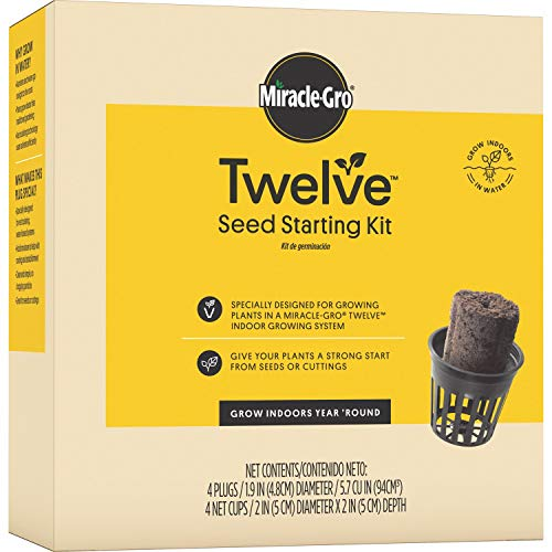 Miracle-Gro Twelve Seed Starting Kit - 4 Plugs, Designed for Growing Plants in Hydroponic Systems, Includes 4 Seed Starting Plugs and 4 Net Cups to Grow From Seeds or Cuttings, Seeds Not Included