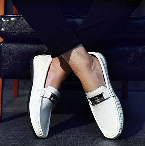Dooxi Hombre Zapatos Planos Casual Mocasines Blanco de Moda Zapatos Loafer Barco Negocio HHWCaxwqrZ