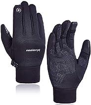 COOLOMG Cycling Gloves Running Gloves Winter Windproof Touchscreen Gloves Men&Women for Outdoor Skiing,Mot