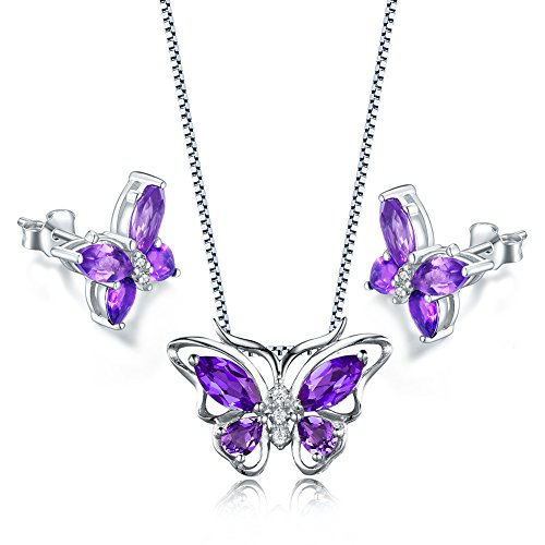 Amethyst Pendant Earrings Set (Aurora Tears Purple created-amethyst Butterfly Pendant Necklace Earrings Jewelry Set DS0035W)