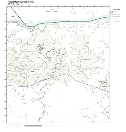 Amazon Com Zip Code Wall Map Of Rutherford College Nc Zip Code Map