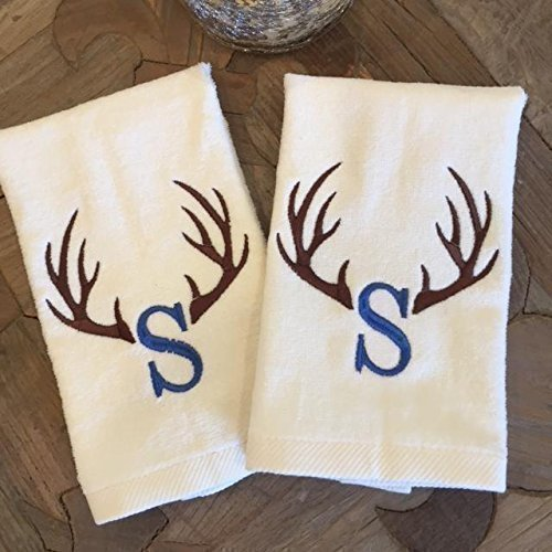 Personalized Rustic Antler Fingertip Towel Set (2)