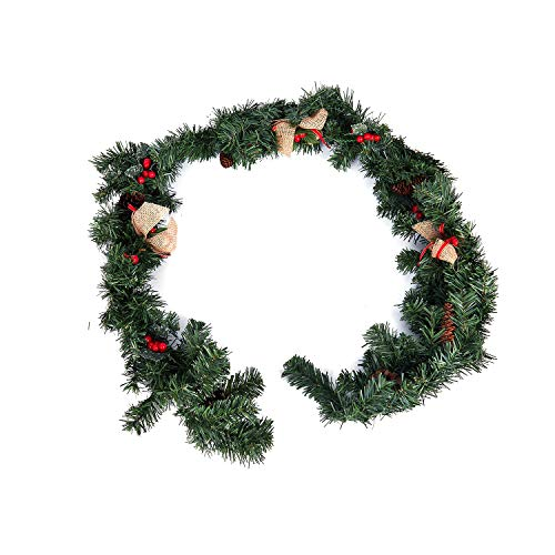(Pendant & Drop Ornaments - Christmas Garlands Wreath Garland With Berries Pinecones And Burlap Bowknots Xmas Decoratio 1.8m - Pine Wooden Cabinet Christmas Fireplace Hearth Berry Green Retro)