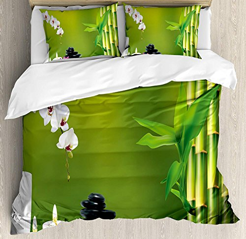 Spa Decor Bedding Duvet Cover Sets for Children/Adults/Kids/Teens Full Size, Bamboo Flower Stone Wax on The Table Orchid Rock Healthy Lifestyle, Bedroom/Hotel Luxury Decorative 4pcs ()