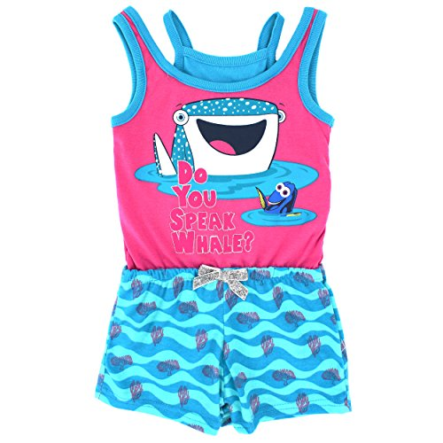 Finding Dory Girls Romper (4T, Whale Pink)