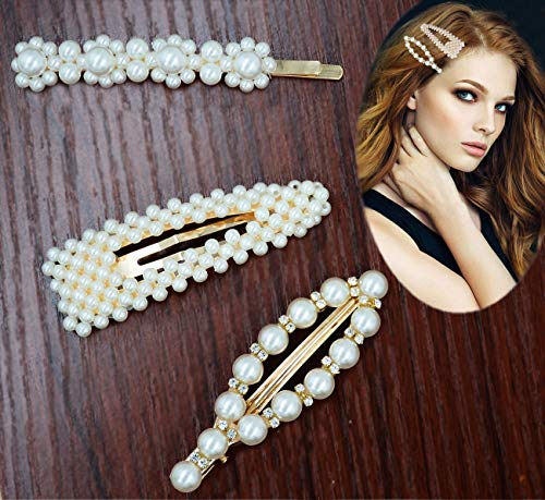 Pearls Hair Clips - Wellstyle Hair Barrettes for Girls Women Wedding Bridal Hair Pins Decorative Gold Fashion Styles Handmade Clip Hair Styling Headwear Accessories for Ladies Women Gifts 3 Pack