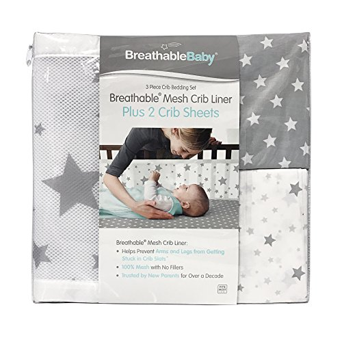 4 Sided Crib Bumper (BreathableBaby 3 Piece Classic Crib Bedding Set, Star Light White and Gray)