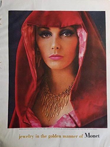 Ardelia 1961 Monet Master Jeweler Gold Necklace Red Cape Vintage Ad ()