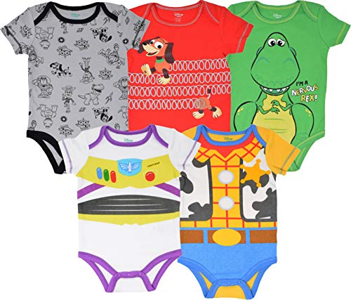 Disney Pixar Toy Story Baby Boy 5 Pack Bodysuit Buzz Lightyear Woody Rex Slinky Dog 24M]()