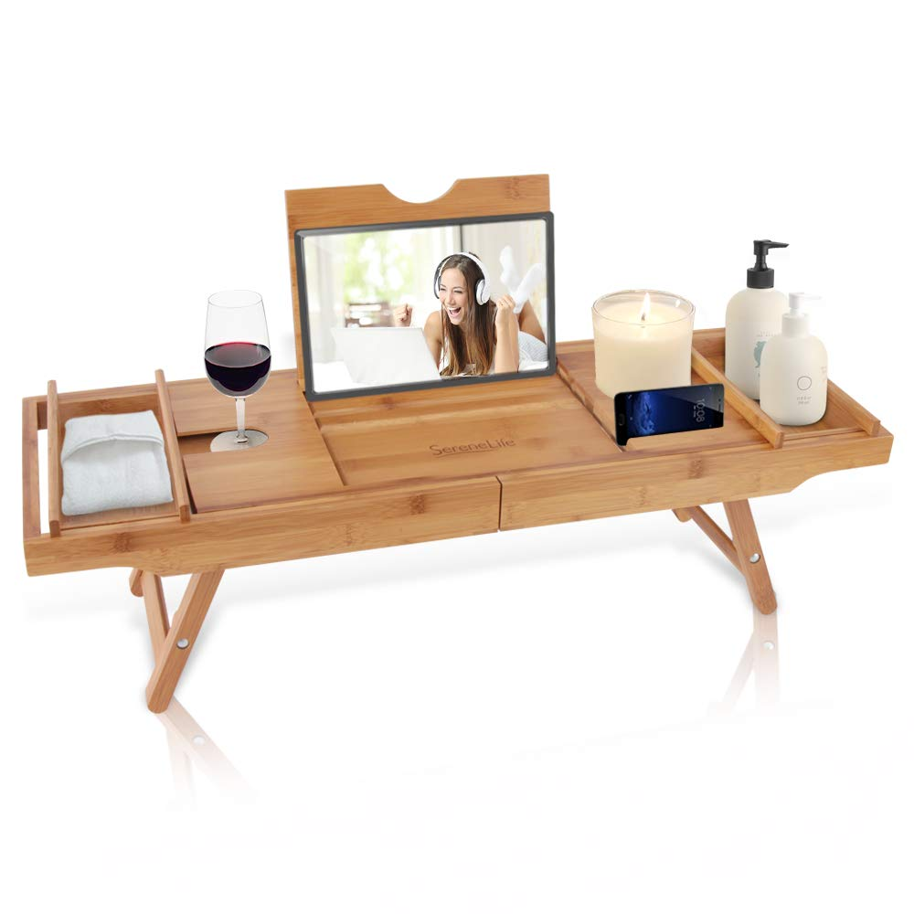Bath Caddy Combination Breakfast Tray - Natural Bamboo Wood Waterproof Shower Bathtub and Bed Tray with Folding Slide-Out Arms, Device Grooves, Wine Glass and Soap Holder Multipurpose Use - SLBCAD50