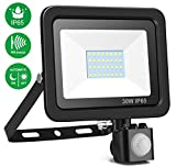 Minger 30W Security Lights with Motion Sensor, Super Bright Outdoor Sensor LED Flood Lights, 2400lumen Cold White 6000K, Energy Saving Waterproof LED PIR Floodlight (No Plug)