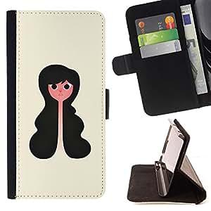 BullDog Case - FOR/LG OPTIMUS L90 / - / PORTRAIT GIRL ART BLACK HAIR WAVY STYLE /- Monedero de cuero de la PU Llevar cubierta de la caja con el ID Credit Card Slots Flip funda de cuer