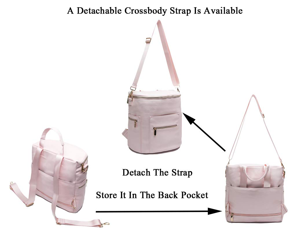 Diaper Bag by Miss Fong Diaper Backpack,Baby Bag with stroller straps,Changing Pad In Bag Organized and Insulated Pockets New Grey- Convertible Backpack Diaper bag