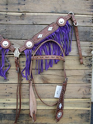 WESTERN HEADSTALL BREASTCOLLAR SILVER CONCHO BUCKSTITCH PURPLE FRINGE BASKET WEAVE TOOLED LEATHER SHOW HORSE BRIDLE SET