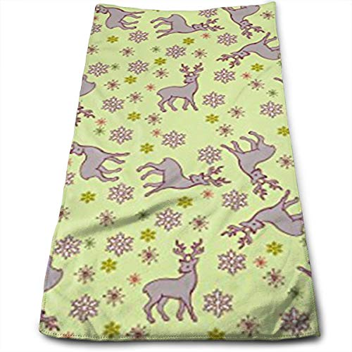 HJOFK Face Towels Hand Towel Workout Face Towels Make-Up Wash Cloths with Reindeer and Snowflakes Pattern for Household Items