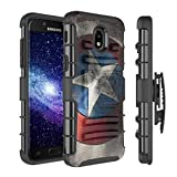 Capsule Case Compatible with Samsung Galaxy J7 2018 (J737), J7 Star, J7 Aero, J7 Refine, J7V 2nd Gen, J7 Crown, J7 Eon [Armor Kickstand Holster Combo Case Black] - (Rock Star)