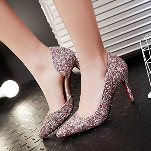 Damen Heels mit AIYOUMEI High Party Glitzer Pumps Schuhe Heel Stilettos 9cm High Absatz Rosa dxfvf6Ywqr
