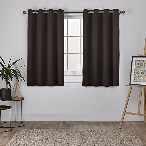 Espresso Drapes (Exclusive Home Curtains Sateen Twill Weave Insulated Blackout Grommet Top Window Curtain Panel Pair, Espresso, 52x63)