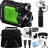 Olympus Stylus TG-Tracker Waterproof 4K Action Cam Green Accessory Bundle includes Camera, Power Grip Selfie Stick, Bag, HDMI Cable, Battery, 64GB microSD Memory Card, Beach Camera Cloth and More