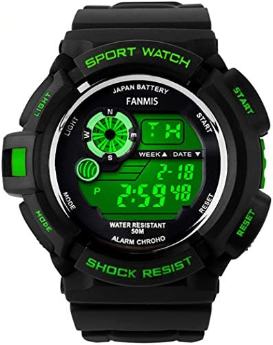 Fanmis Military Mens Sport Watches Multi Function Digital Alarm Waterproof Black Rubber Strap Watch Green