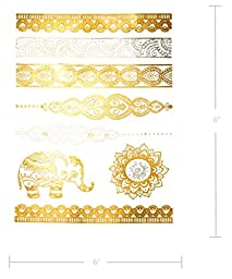 Henna Metallic & Black Temporary Tattoos - 75+ Designs, Pack of 6 Sheets (Shay Collection)