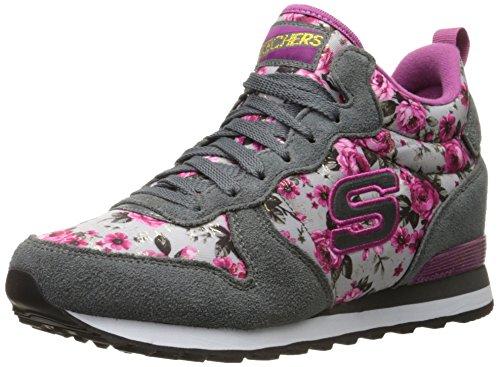 Skechers Originali Donna Retros Og 85 Fashion Sneaker In Pelle Scamosciata Grigia / Rosa