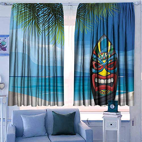 AndyTours Thermal/Room Darkening Window Curtains,Tiki Bar Decor,Curtains for Living Room,W55x72L Inches Multicolor