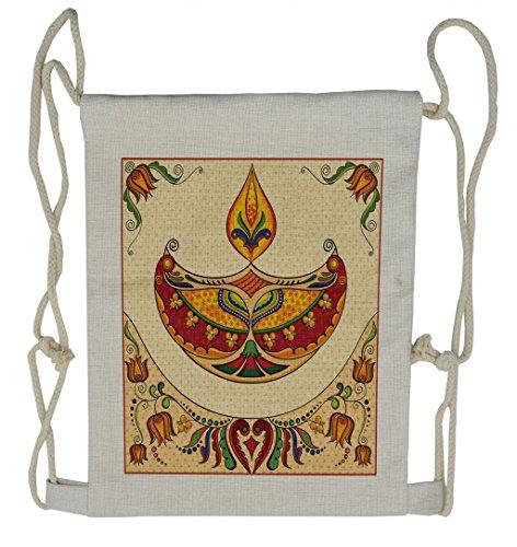 Lunarable Diwali Drawstring Backpack, Paisley Motifs Ethnic Design, Sackpack Bag by Lunarable