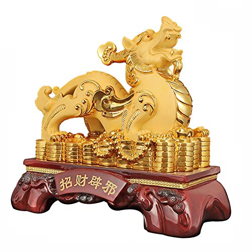 FIREBUGI Chinese Feng Shui Decoration Pi Yao Pi Xiu Statues Gain Wealth and Good Luck Business Gift Large-Male