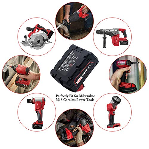 2Packs18V 6.0Ah Replacement for Milwaukee M18 Battery M18B 48-11-1820 48-11-185048-11-1828 48-11-10 m18 Cordless Power Tools Batteries
