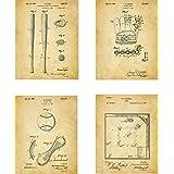 Baseball Patent Wall Art Prints - set of Four (8x10) Unframed - wall art decor for baseball fans