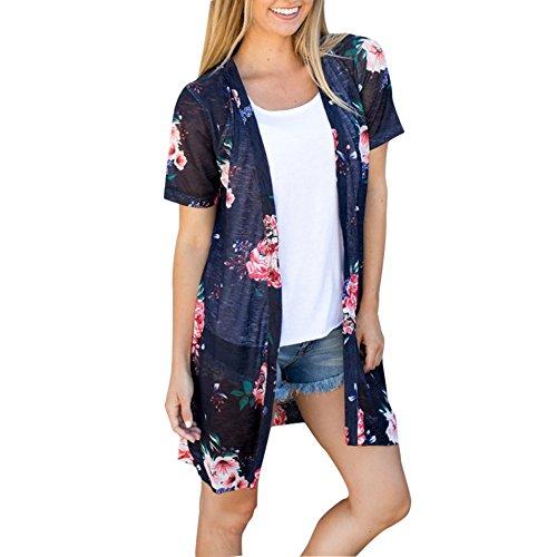 TOPUNDER Coat Womens, Summer Floral Open Cape Casual Coat Loose Blouse Kimono Jacket Cardigan (L, Navy)