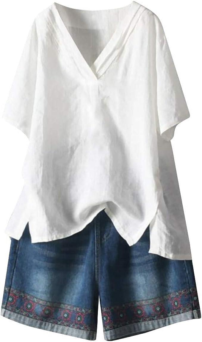 Blusa Holgada de Manga Corta para Mujer, de Lino y algodón ...