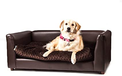 Keet Fluffly Deluxe Pet Bed Sofa Chocolate Large Pet Supplies
