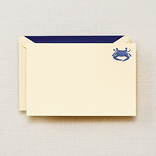 Crane & Co. Hand Engraved Blue Crab Correspondence Card- Pack of 30Cards ()